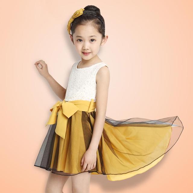 Корейские девушки детская одежда питания смокинг кружева юбка ласточкин хвост юбка пояс съемный цветочница платье