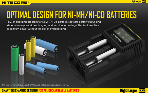 Nitecore D2 Digcharger Battery Charger LCD Display Nitecore Charger for 26650 18650 18350 16340 14500 10440