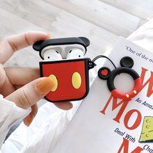 Para AirPods funda Linda 3D patrón de dibujos animados funda de auriculares para Apple Airpods 2 funda protectora de silicona suave con anillo de dedo correa(China)