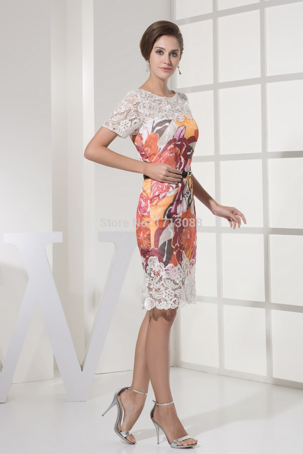 Knee length evening dresses with sleeves