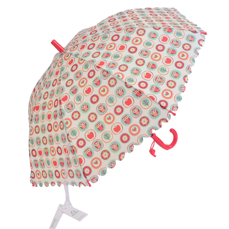 Big discount kids umbrella for girl printed long curved handle umbrellas children cartoon animal semi-automatic sunny and rainy(China (Mainland))