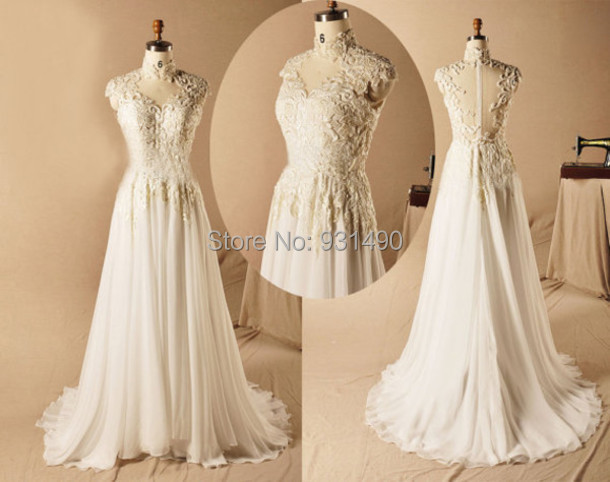 2014 New Lace Train Bridal Gown Sweetheart Cap Sleeve Sheer Back White/Ivory Chiffon Wedding Party Dress Custom Made Hot Sale
