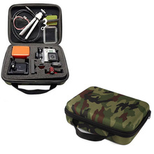 2015 New Promotion Middle Collection box Camouflage Carry Travel Storage Bag Case For GoPro HERO 4 3+ 3 2 1 Camera Free Shipping(China (Mainland))