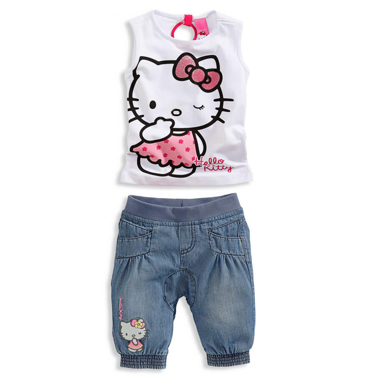 Baby Girls Clothing Sets Girls Clothing Set cartoon clothing baby girl lovely Kids Apparel New Arrival 2014 Freeshipping(China (Mainland))