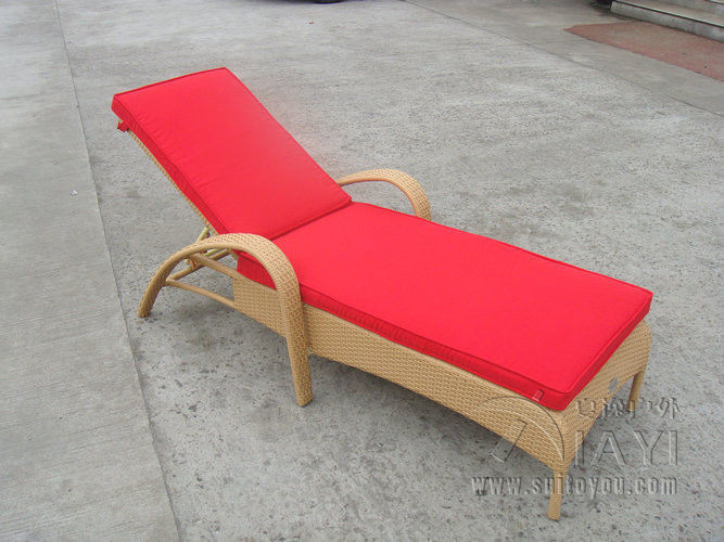 Resin Wicker Chaise Lounge , Foldable Cane Beach Lounge Chair transport by sea(China (Mainland))