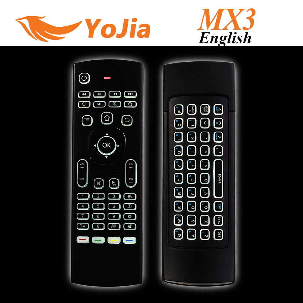 Newest MX3 Air Mouse Backlight MX3 Wireless Keyboard 2.4G Remote Control IR Learning Fly Air Mouse Backlit For Android TV Box PC(China (Mainland))