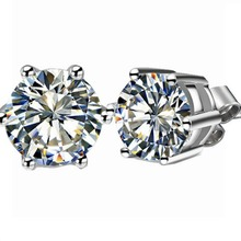 Stunning Fabulous Popular 2 CT/Piece  Certificate Moissanite Engagement Stud Earrings Solid 18K White Gold Wedding Earrings(China (Mainland))