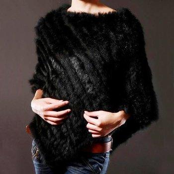 Zdfurs * настоящее натуральная треугольник кроличий мех пончо естественная кролик шаль для женщины