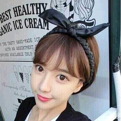 New Korean Style Rabbit Ear Leather Braid Headbands For Women Hair font b Accessories b font