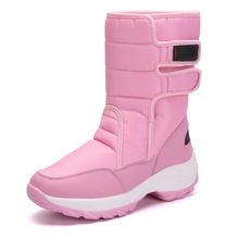PINSEN Kış Kadın Çizmeler Moda Sıcak Bayanlar Rahat Kar Botları Su Geçirmez kaymaz Orta Buzağı Peluş Döndü- kaflı üzerinde Ayakkabı(China)