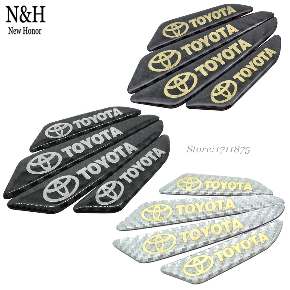 Car Door Protection Strips Real Carbon Fiber Door Side For Toyota Auto Tundra Senna Yaris Alphard FJ Cruiser 3D Styling Sticker(China (Mainland))
