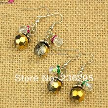 Fashion Tibetan Style Earrings,  with Glass Beads,  Acrylic Rhinestone Beads and Brass Earring Hooks,  Gold,  39mm(China (Mainland))