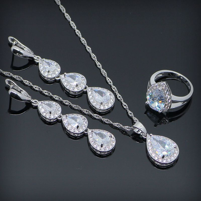 New Stlye 925 Sterling Silver Jewelry Sets For Women Long Drop White Topaz Earrings Necklace Pendant Rings Free Gift Box
