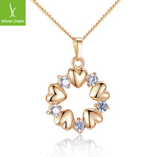 2014 Brand Bamoer  Pendant Necklace for Women 18k Real Gold Plated 5 Heart and  Brilliant Crystal Zircon Jewelry gift JIN018