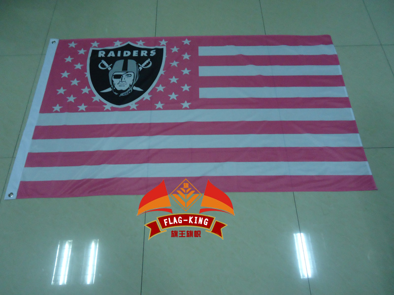Oakland Raiders with Pink national flag background Rugby club flag,football soccer fan banner,90X150CM polyester flag king(China (Mainland))