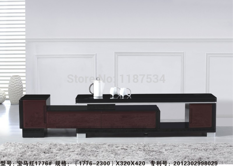 1776 modern living room furniture black and red wood for Table tv moderne