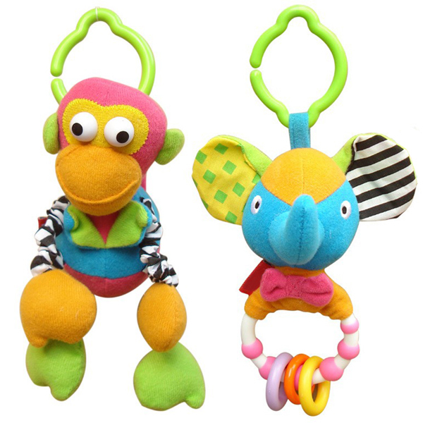 2pcs/lot Animal Fun Plush Baby Rattles Toys 0-12 Months Baby Mobiles In The Crib Stuffed Doll Toys For Baby Girls Boys(China (Mainland))