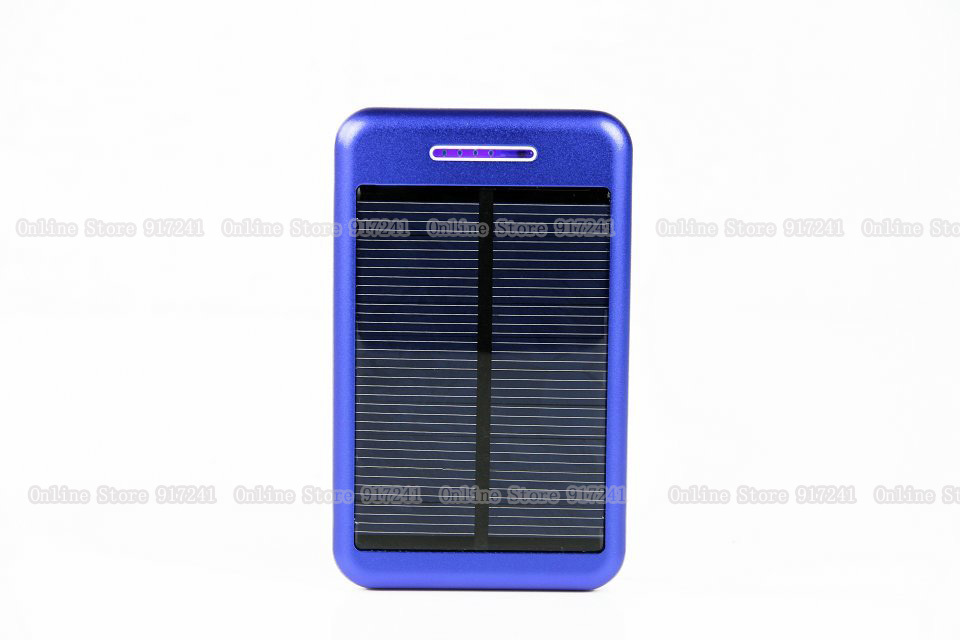 Blue New Portable rechargeable external battery usb 13800mah solar charger mobile power bank for iphone Samsung HTC smart phone(China (Mainland))