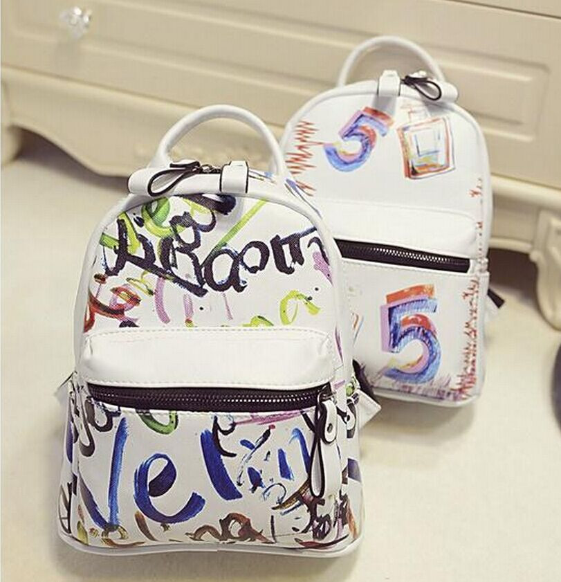 Graffiti shoulder bag female 2015 new PU printing Korean Institute of wind leisure mini women backpack schoolbags free shipping<br><br>Aliexpress