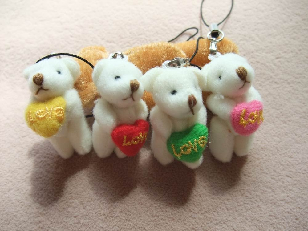 Free shipping, 100pcs/lot, Tinny teddy bear with heart, for lover. for wedding. can be use as hanger, key, mobile chain(China (Mainland))