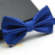1PC Fashion Royal Blue Bow Tie For Men Jacquard Plaid Bowtie Grid Leisure Wedding Tuxedo Brand Cravat Free shipping Butterfly(China (Mainland))
