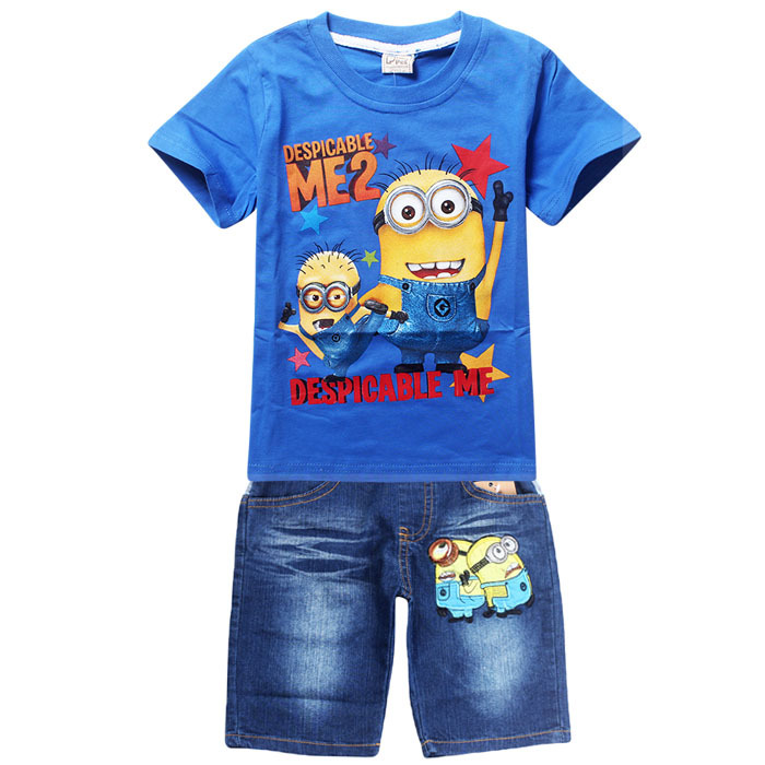 Retail Children's suit despicable me 2 minion 2016 new boys Clothing Set Kids t-shirt+jeans cartoon clothes Sports suit(China (Mainland))