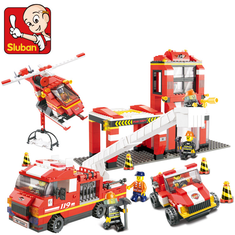 Building Blocks Sluban NEW City Fire Department Emergency Fire Engine Helicopter Figures toy Compatible with lego(China (Mainland))
