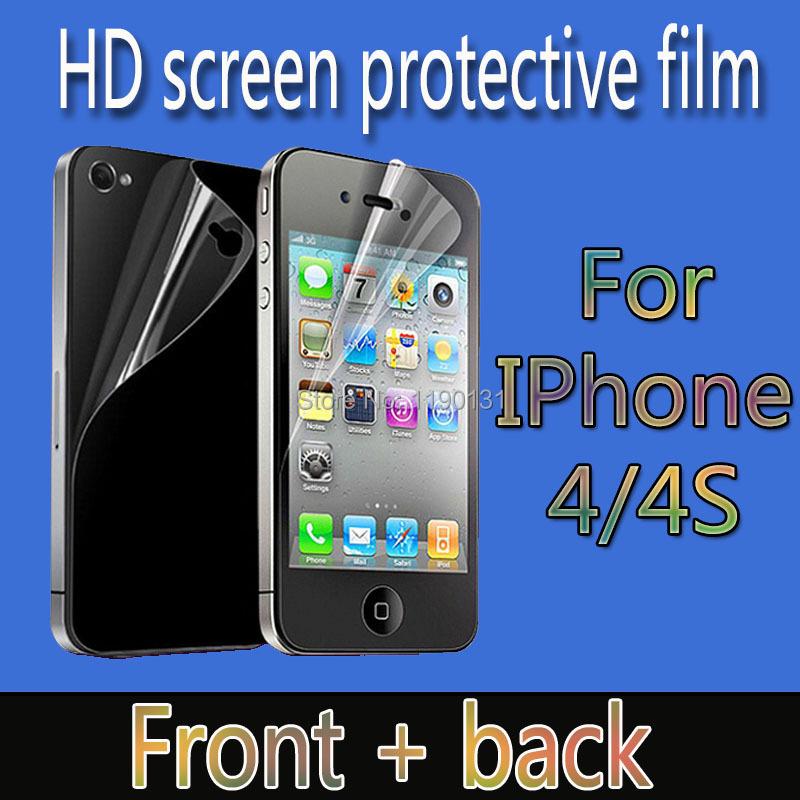 Передняя панель + крышка - hd-прозрачная протектор экрана для iPhone 4 4S очистить экран защитная пленка гвардии с чистки для подарка