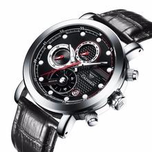 2016 mens watches top brand luxury Three dial work steel&leather Waterproof Luminous men's watches quartz-watch men