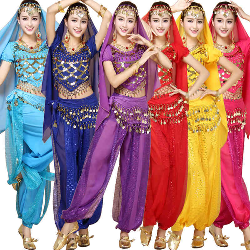 4pcs Sets Bra Top Skirt Egypt Belly Dance Costumes Bollywood Costumes Indian Dress Bellydance Dress Belly Dancing Gypsy Costume