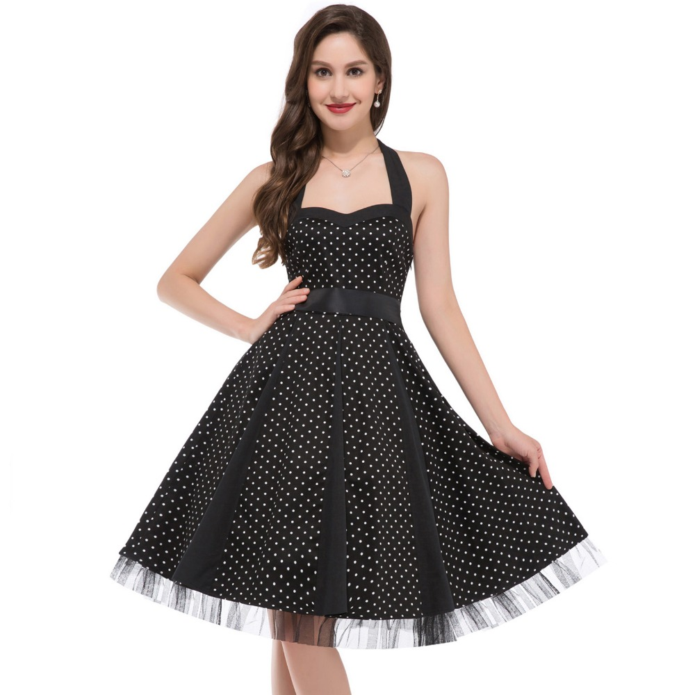 Sexy Club Party Dresses Women Pinup Wiggle Casual Cotton Summer Dress Vestidos Halter Polka Dots 50s Vintage Rockabilly Dress(China (Mainland))