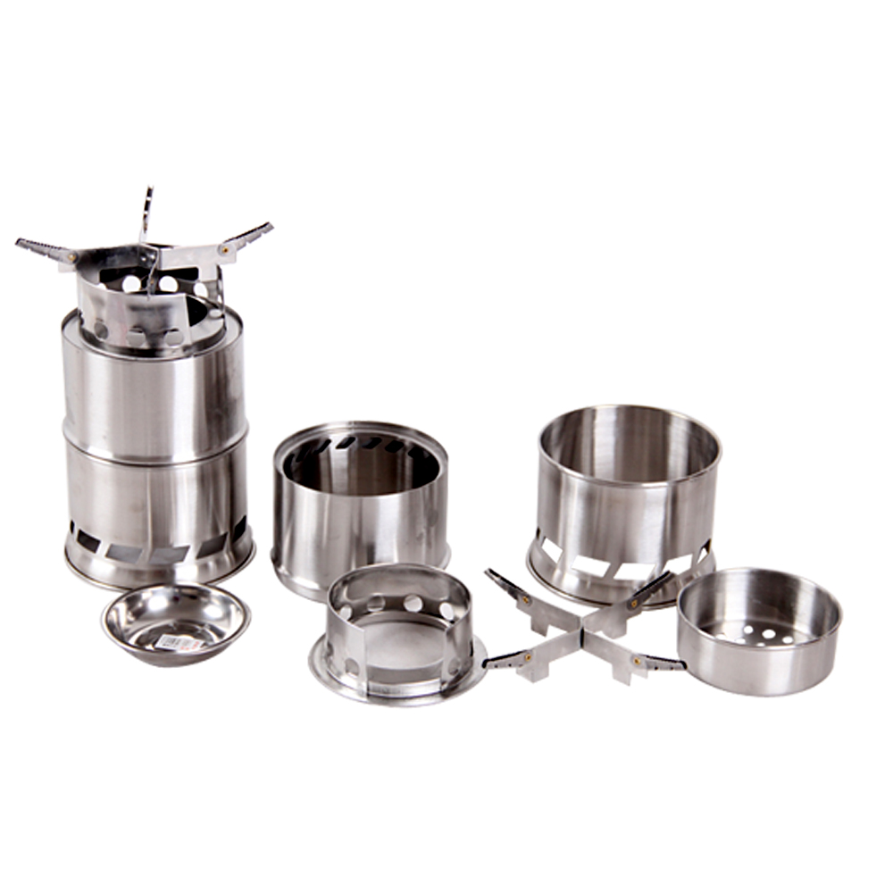 Portable Camping Stove Stainless Steel Lightweight Wood Stove Solidified Alcohol Outdoor Stove Cooking Picnic BBQ Camping(China (Mainland))
