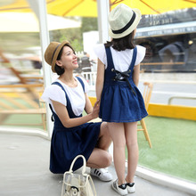2016 Fashion Family Matching Outfits Mother Daughter Matching Dress Butterfly Sleeve Cotton T-shirt+Denim Dress For Women Girls