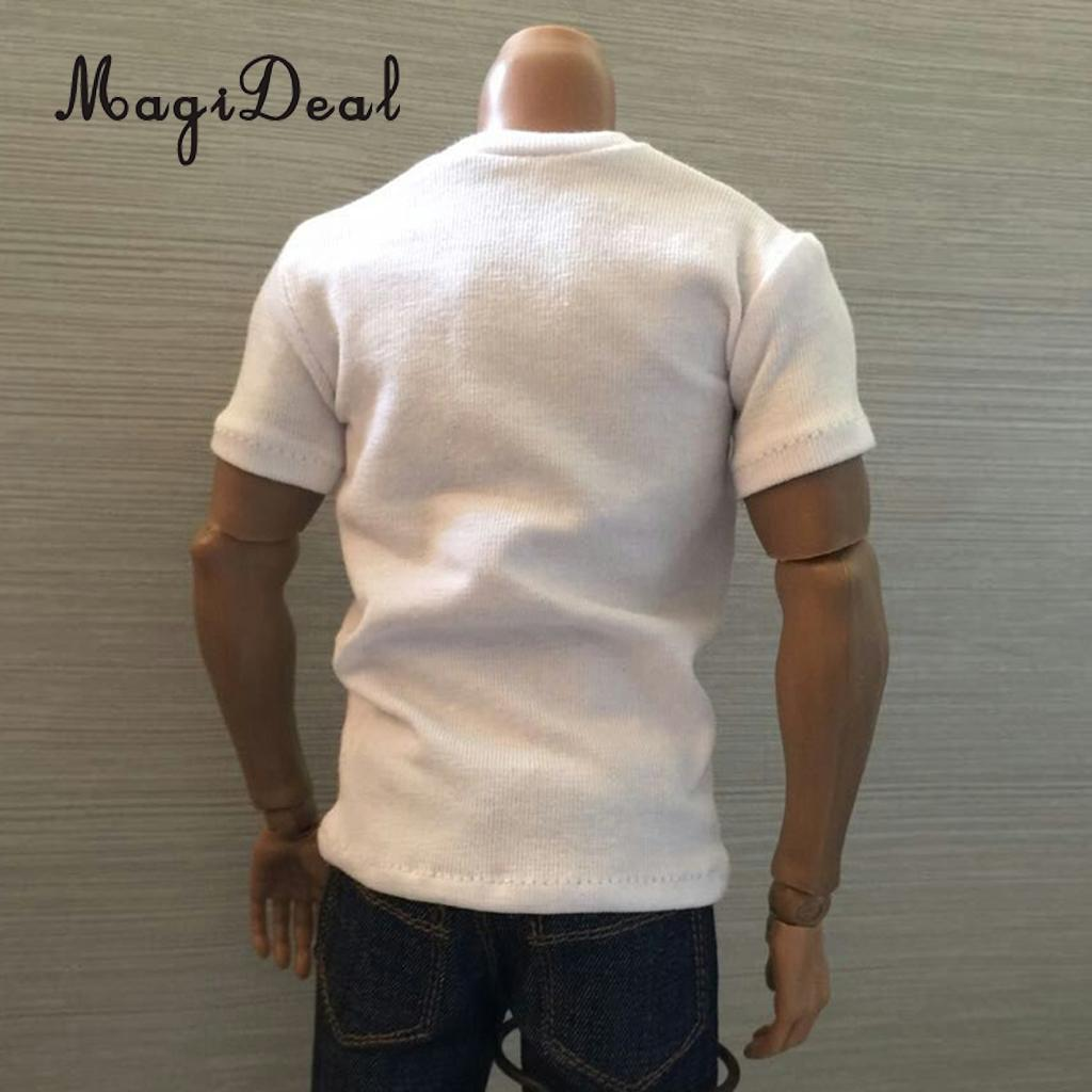 MagiDeal 1/6 Scale Cotton Mens Sleeve Loose Round Neck Short T-Shirt Top for 12 Inch Male Action Figures Models Acce 3 Colors