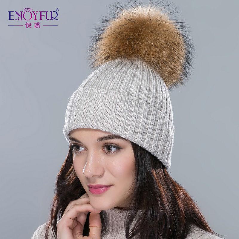 ENJOYFUR women gorros hat for winter big real raccoon fur pom pom hat wool cotton warm hat 2016 new fashion big hot sale caps(China (Mainland))