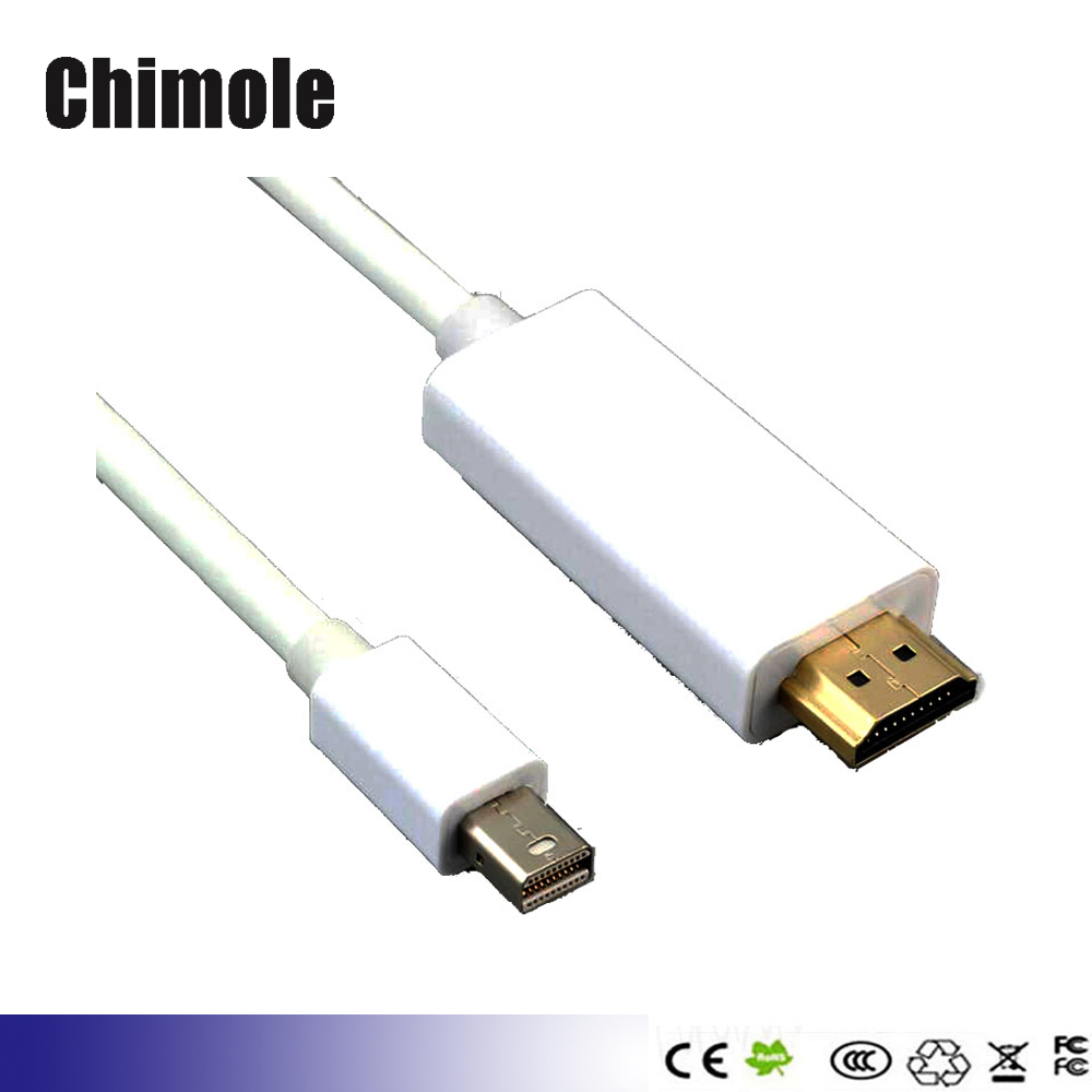 Mini DP to HDMI cable Gold Plated Mini DisplayPort to HDMI HDTV Cable for Dell Lenovo computer Apple MacBook Microsoft Surface(China (Mainland))
