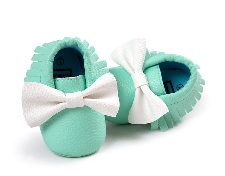 Mix Color Spring Autumn Bow Baby Shoes PU Leather Infant Boys Girls Shoes First Walkers Baby Moccasins 0-18 Months(China (Mainland))