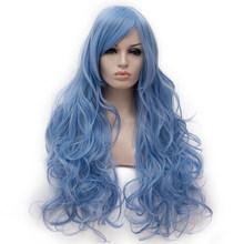 Similler 80 см длинные кудрявые пушистые красные косплей женские синтетические парики для вечерние парики из высокотемпературного волокна черн...(China)