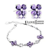 Purple CZ Diamond Jewelry Set for Women Wedding Party Fashion Crystal Rhinestone 925 Silver Earrings Bracelet Accessories JS1698(China (Mainland))