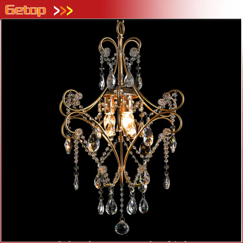 ZX American Retro Iron Crystal LED Chandelier Country Rural Style Lamp Crystal Chain 1/3head E14 Lights for Cloakroom Livingroom(China (Mainland))
