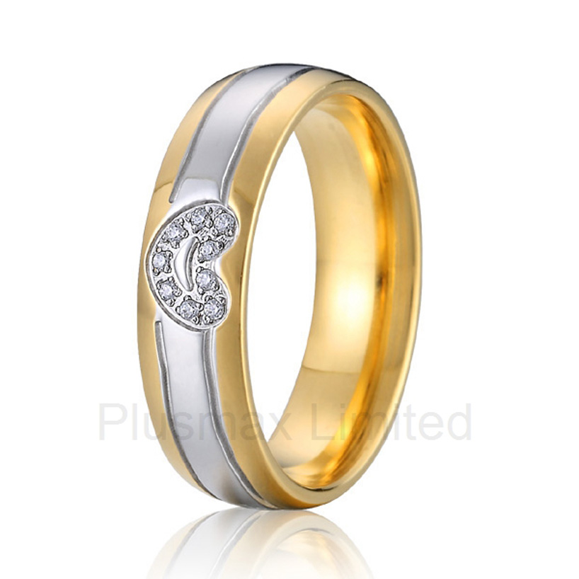Best China factory amazing selection of gold plated heart shape cheap pure titanium wedding band rings for couples(China (Mainland))