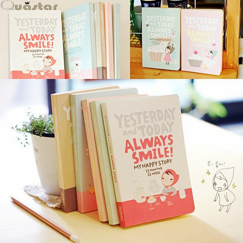 Diary agenda 2016 cute korean stationery Kawaii Cute Notebook Lovely Red Hat Girl week Day planner journal record - Quastar Co.,Ltd. store