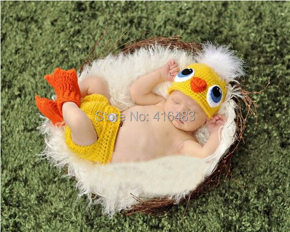 Crochet Knit Baby chicken Hat Diaper Cover & Shoes Costume Outfit Newborn Photography Props Infant Animal Beanies 1set - Jack's Fashion Shop store
