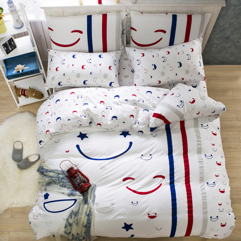 2016 High Quality 100 Cotton Bedding Set Stripe Bed Sheet Set For Kids Gift Bedding Set Queen