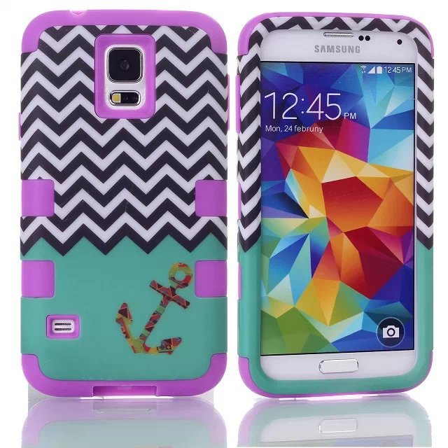 Samsung Galaxy S5 SV i9600 3 1 Hard/Soft Rubber Wave & Anchor Teal Hybrid Skin Case Cover + Screen Protector - Shenzhen GenaTX Technology Co., LTD store