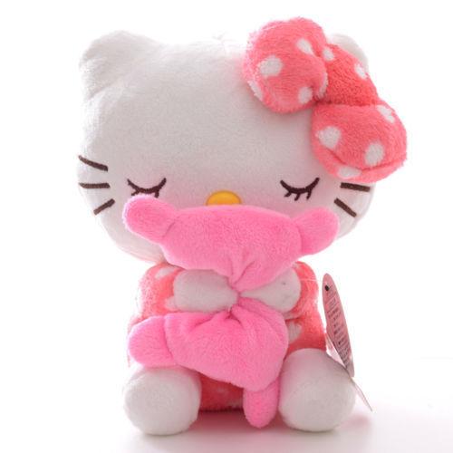 Adorable Soft Pink Dots Sleeping Hello Kitty Hold Pillow Plush Japan Ainime Kitten Cat Dolls Toys 8'' New(China (Mainland))