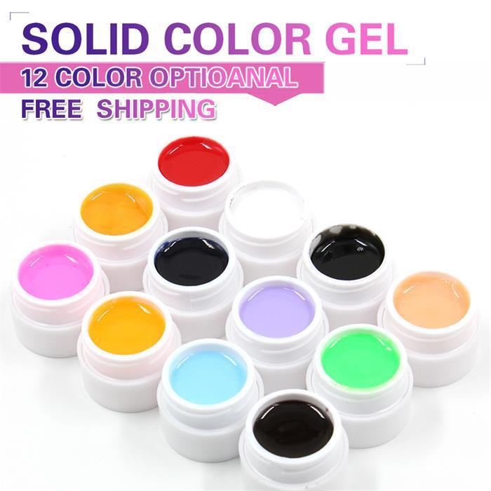 Hot Sales 1 Pcs retail 12 Colors Optional Uv nail Gel Solid color For Nail Art Decoration(China (Mainland))