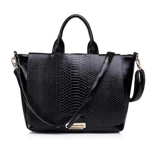 2015 New Fashion Style Trendy Snake Skin PU Leather Handbag Brand Designer Women Shoulder Bag Tote(China (Mainland))