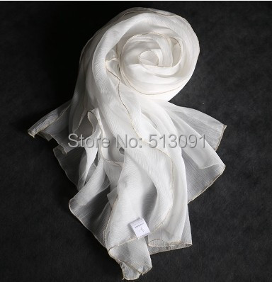 2015 New Ms autumn silk scarves Super long pure black and white mulberry silk scarves(China (Mainland))