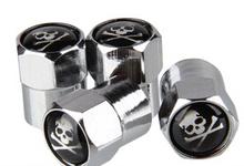 4pcs mini Chrome Tire Wheel Rims Stems Air Valve Caps Tyre Cover For Skull head 1 Logo(China (Mainland))